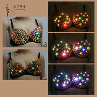 W01151 led belly dance sequin bra top with Conical beads belly dance top night club costume