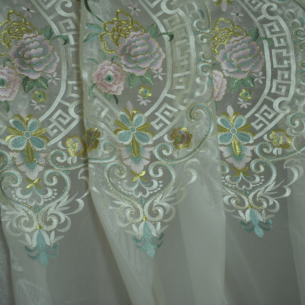 white tulle fabric with colorful flower pattern embroidery for occasions curtain SM31114