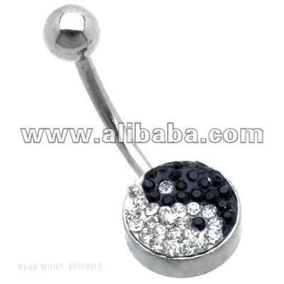 Crystal Ferido Pave Yin Yang Belly Bar 14G