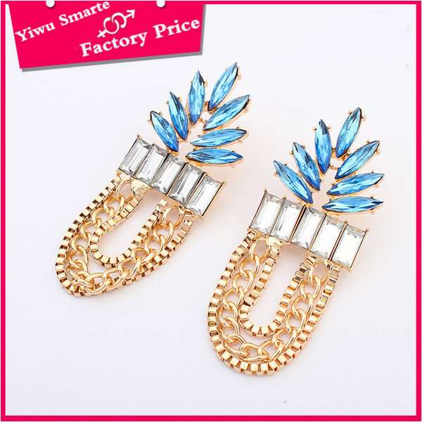 high quality Nigeria fashion hip hop jewelry design long gold plated chains <strong>earring</strong> with blue stone