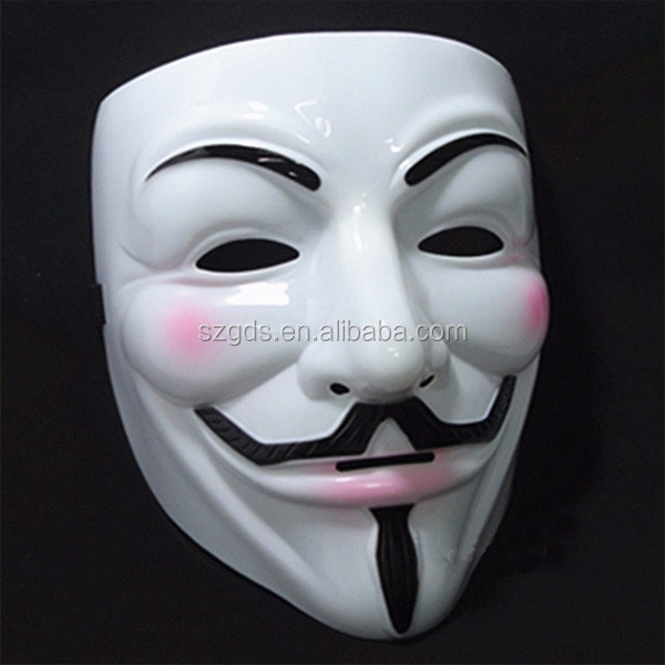 Top PVC White V for Vendetta Mask guy fawkes mask /Anonymous PVC V For Vendetta Halloween Mask