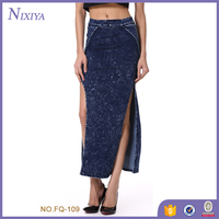 long blue jean skirts for women new design women jean skirt