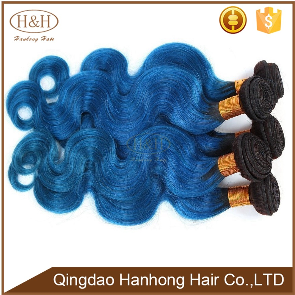 Ombre Blue colour Body Wave Hair 100Human Virgin Hair Two Tone Ombre Hair Extensions