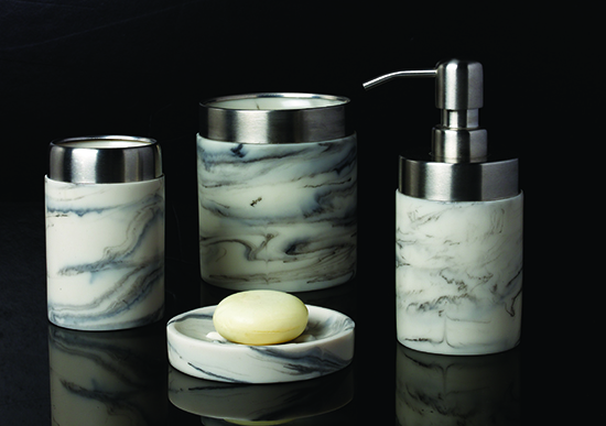 Shenzhen White Transparent Resin Bathroom Tumbler Set