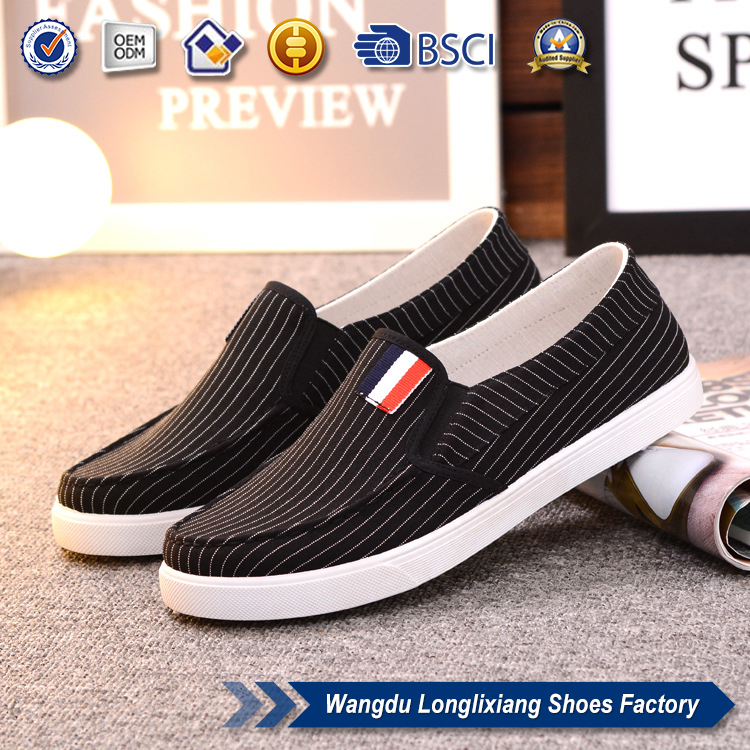 High quality slip on shoes 2017 made in china canvas casual striped shoes for <strong>men</strong>