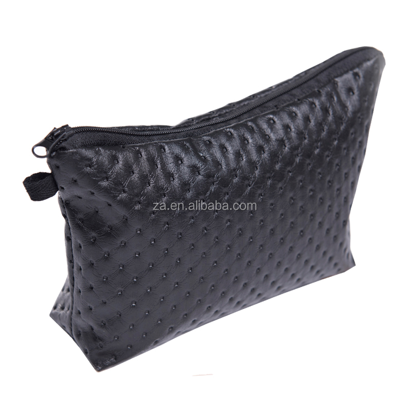 fashion makeup case leather quilted black dots promotional makeup case