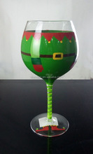 12oz hand painted transparent globet wine glass