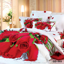 Red roses 3D quilt cover set bridal bedding sets in Huzhou