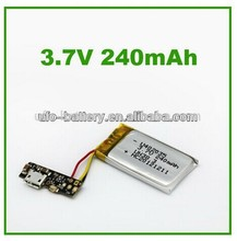 3.7v 240mah lithium 5v rechargeable battery with micro USB charge port