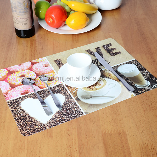 Customer Flower and Leaf design food grade plastic material printing Polypropylene Placemat