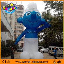 Customized inflatable cartoon, large inflatable smurfs for sale