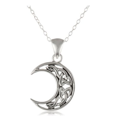 Sterling Silver Celtic Knot Crescent Moon Pendant Necklace with Rolo Chain, 18""