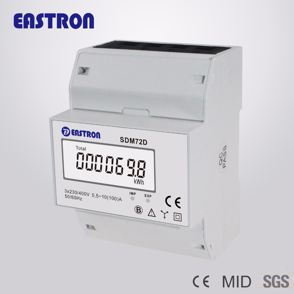 SDM72D Three Phase Kwh Meter , kwh meter digital 3 phase with pulse output , MID approevd