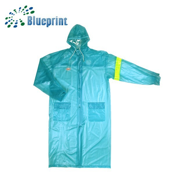 long style blue polyester adult PVC rain cape