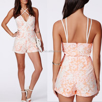 Pink thin straps frill short v-neckline chiffon romper summer jumpsuits for women playsuits 2015