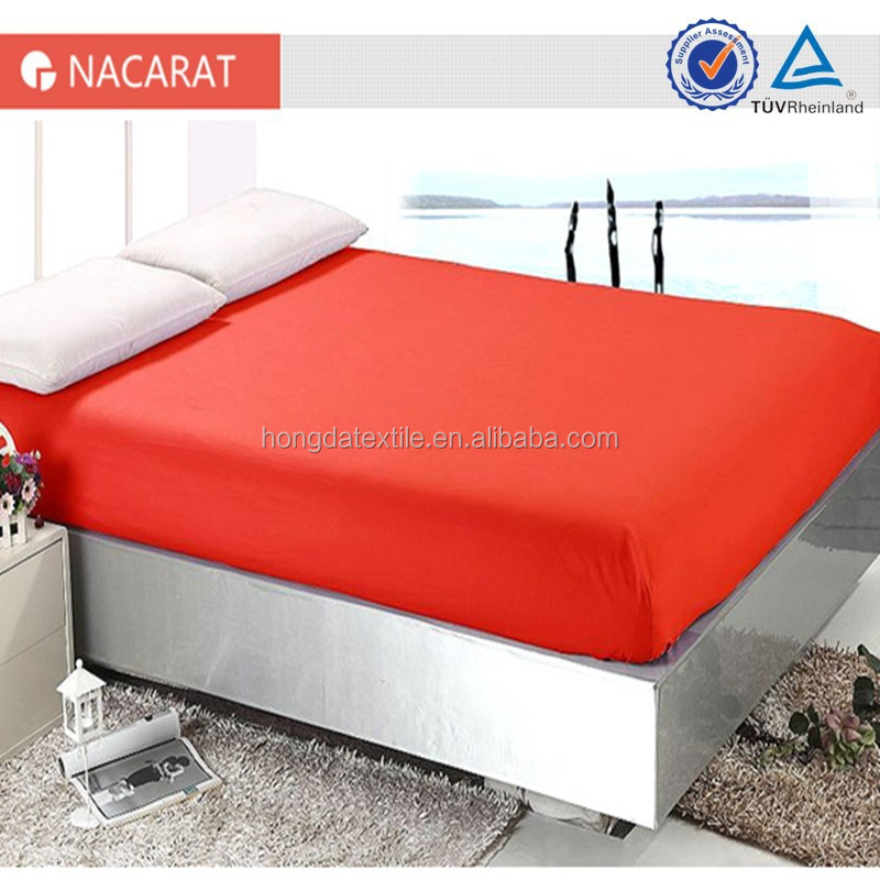 nacarat color 100% cotton bed fitted sheet