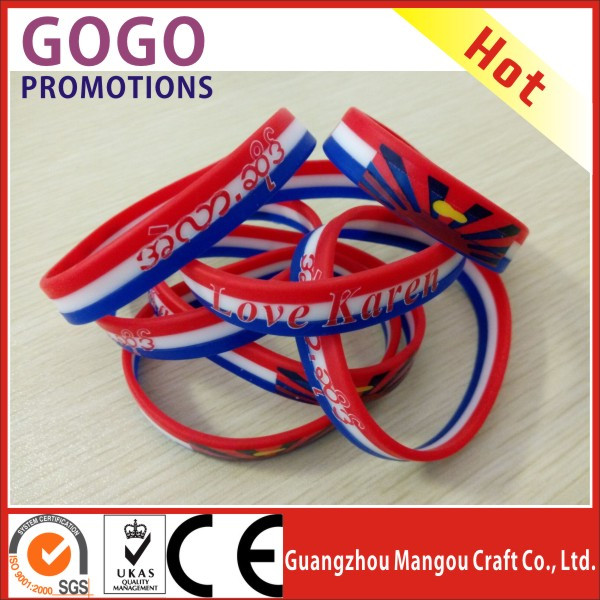 company logo words imprinted silicone bracelet, most beautiful fashion silicone bracelet with printed logo, silicone wristband