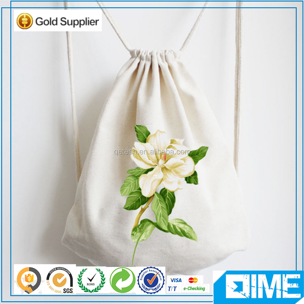 Pure And Clear Flowers Wholesale Cotton Canvas Drawstring Bag