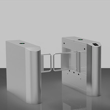 Automatic pedestrian 304 stainless steel waist high double swing barrier gate with RFID card/fingerprint reader