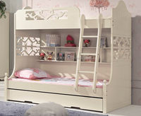 modern white durable metal bunk bed with desk 906