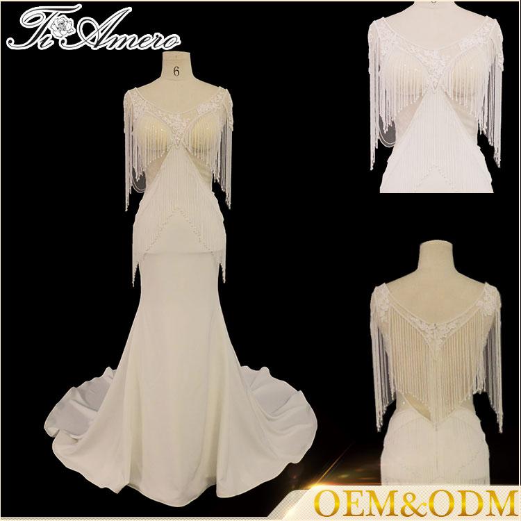 Tiamero Beaded Curtain Round Neckline Lace Decent Organza Fabric ...