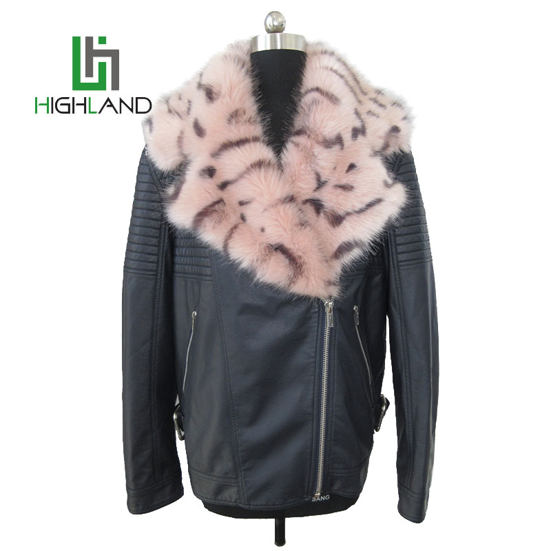 Newest design fashion leather motorcycle jacket winter jackets womens faux fur jacket