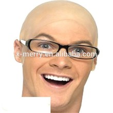 X-MERRY Mens Adult Bald Bare Shaved Head Hairless Latex Costume Cap Wig