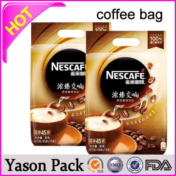 Yason black side gusset coffee bag with valve hot sale printed plastic coffee bag with valve for packing customized aluminum co
