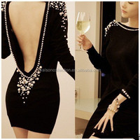 2015Women luxury embellished pearls beaded pencil dress long sleeve backless sequin dress