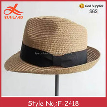 F-2418 new unisex uv protection sun hat wide brim straw roll brim hat