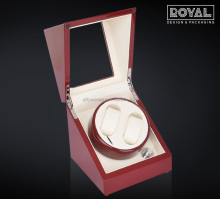 Wine Red Rotating Watch Winder with Cover and Extra Storage