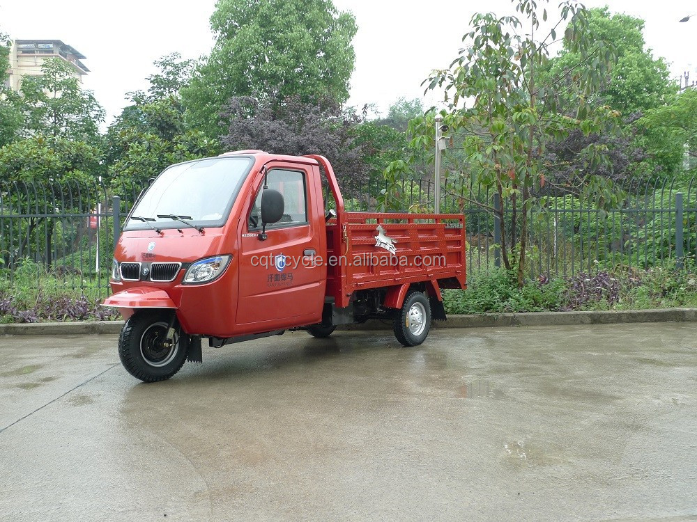 300cc closed cabin heavy duty doule rear type three wheel truck tricycles