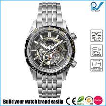 3 ATM Japanese Miyota 82S5-21A mechanical movement hollow skeleton watches men luxury brand automatic