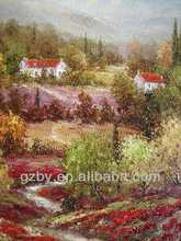 Handmade Beautiful Natural Village Scenery Art Oil Painting