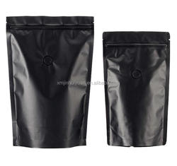 Matt Black Three-edge Vacuum Self-sealing Coffee Packaging Bag with Valve