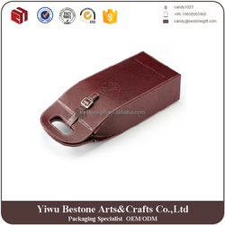 Factory price latest design custom made leather cardboard portable 2 pack wine carrier