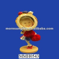 resin girl bobble head with photo frame