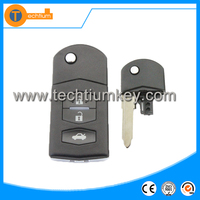 3 button flip remote key blank case shell with uncut blade for Mazda 2 3 4 5 6 series 323 CX7 626 RX8 Premacy demio valet mx5