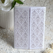 Make and design folding gate pocket paper wedding invitation card with special ribbon and bowknot decoration