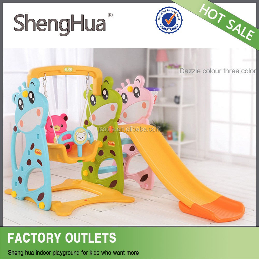 Lovely Deer slide with plastic swing and basketball play for baby indoor SL-30401B