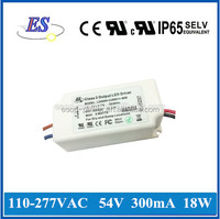 18W 54V 300mA 100-277VAC Full Voltage Input Constant Current Dimmable LED Driver with ELV Dimmer