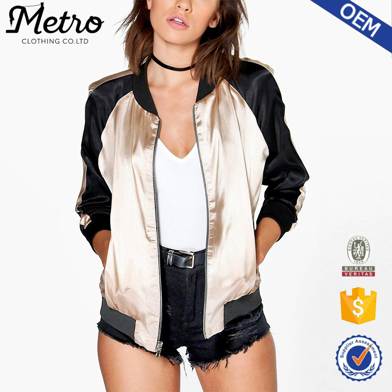 OEM Service Sports Style Women Two-tone Satin Bomber Jackets