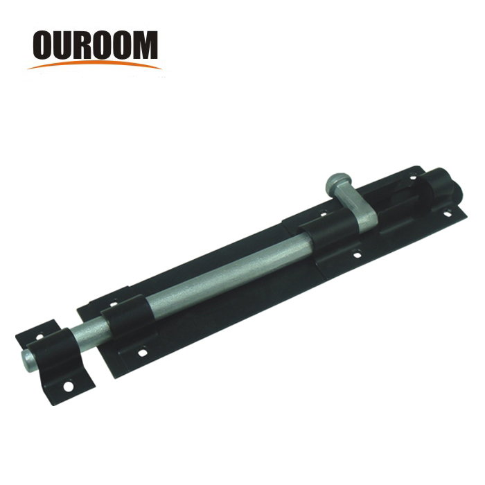 Ouroom wholesale products 160229 steel material black plated heavy duty fence gate padlock bolt with strike and screws