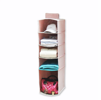 NAHAM 2017 promotional eco-friendly five shelf clothes hanging closet wall organizer