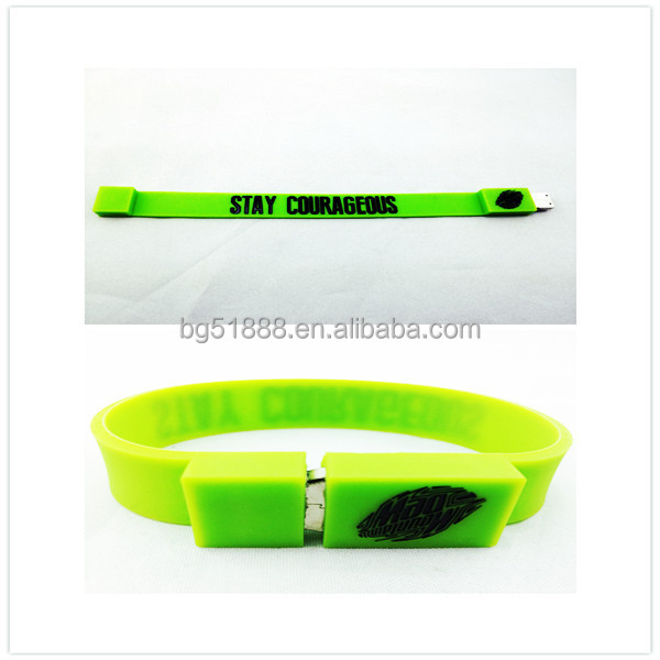 Wearable Colorful 1GB-64GB Silicone Bracelet USB Flash Drive With LOGO Custom Smart 4GB Memory USB Silicone Bracelet