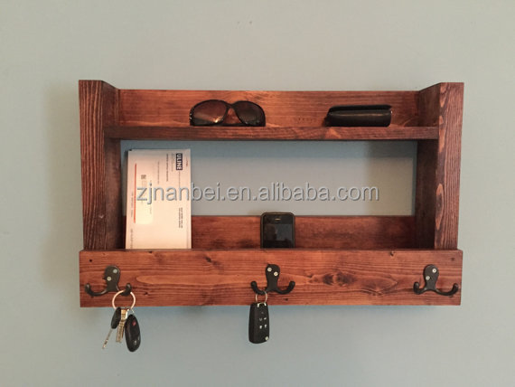 Custom wooden wall kitchen shelf with hooks, rustic wood key holder