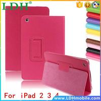 Matte Litchi Surface Flip PU Leather Case for apple Ipad 2 3 4 Smart Stand Magnetic Sleep Wake UP Pouch Cover