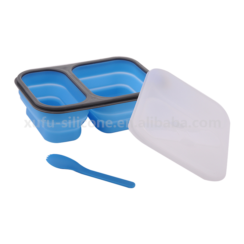Food grade 2 cup silicone folding lunch box bowl with spoon