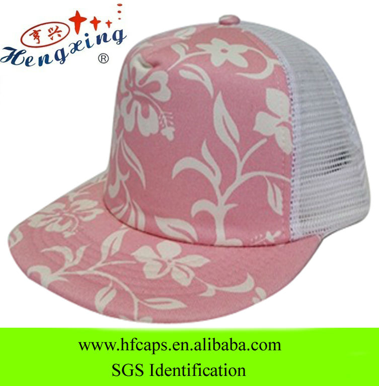 2013 pattern floral pattern pink 100% cotton flat brim Hawaii 5 panel blank mesh caps baseball