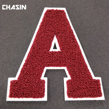 Custom sew on embroidered chenille letter no minimum